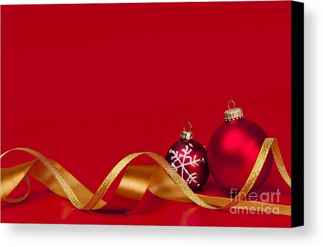 Christmas Canvas Print featuring the photograph Gold And Red Christmas Decorations by Elena Elisseeva