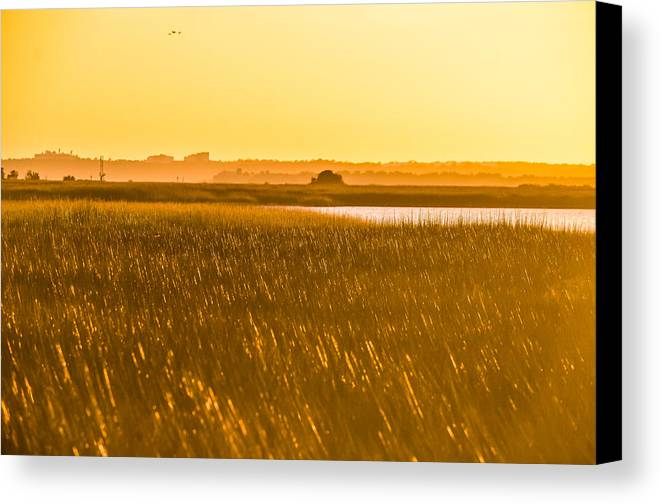 Beach Cottage Life Canvas Print featuring the photograph Golden End Of Day by Mary Hahn Ward