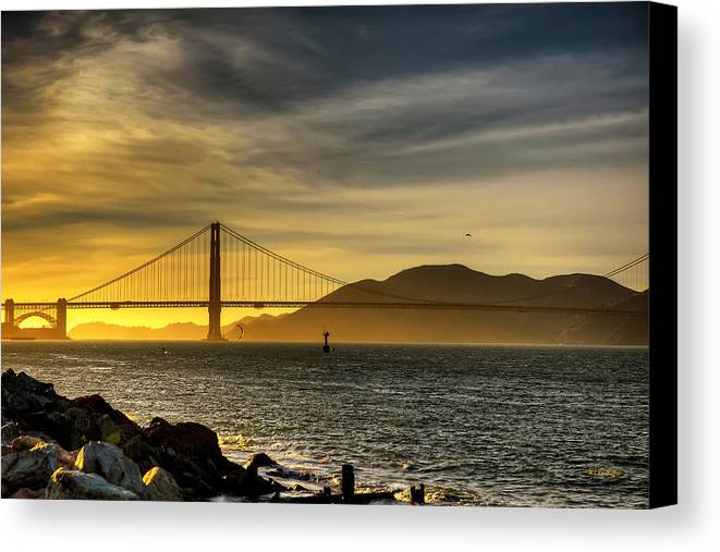 Golden Gate Bridge At Dusk Canvas Print featuring the photograph Golden Gate Bridge by Wayne Kondoff