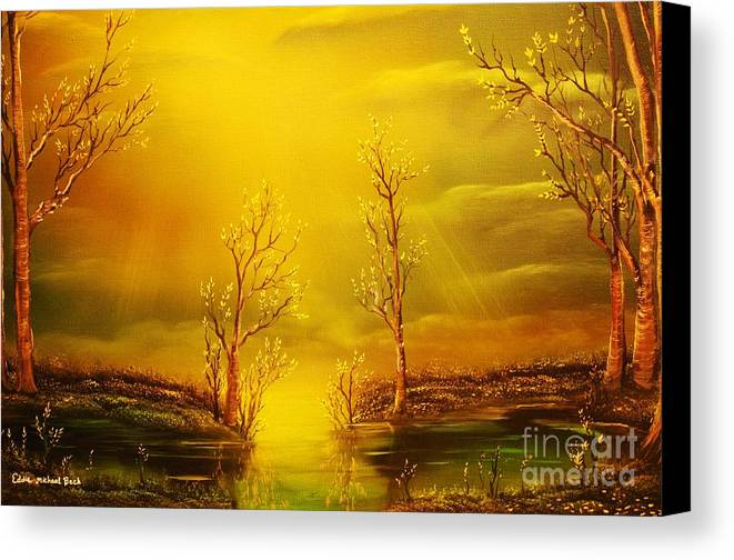 Golden Canvas Print featuring the painting Golden Rays-original Sold-buy Giclee Print Nr 35 Of Limited Edition Of 40 Prints by Eddie Michael Beck