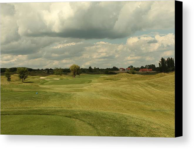 Lake Balaton Canvas Print featuring the photograph Golf Course With Clouds by M N