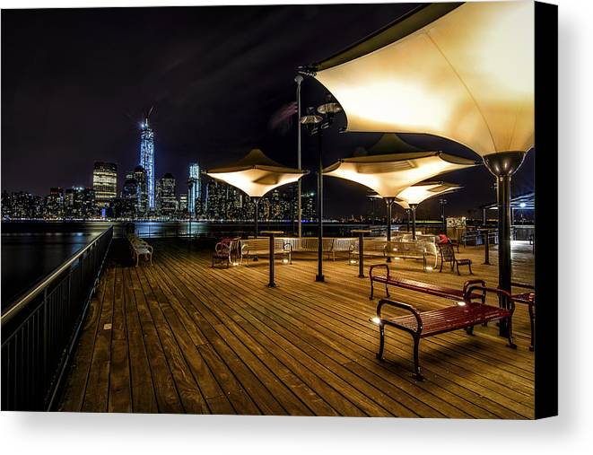 Nyc Canvas Print featuring the photograph Gotham By Night by Randall Bertrand