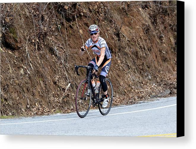 Sport Canvas Print featuring the photograph Grand Fondo Bike Ride by Susan Leggett