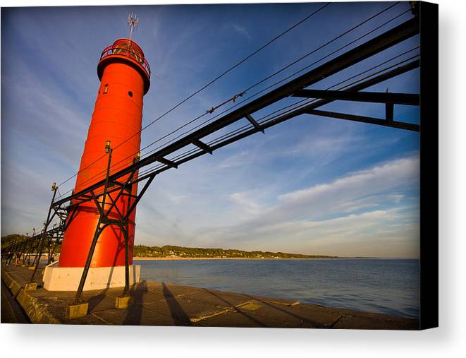 3scape Photos Canvas Print featuring the photograph Grand Haven Lighthouse by Adam Romanowicz