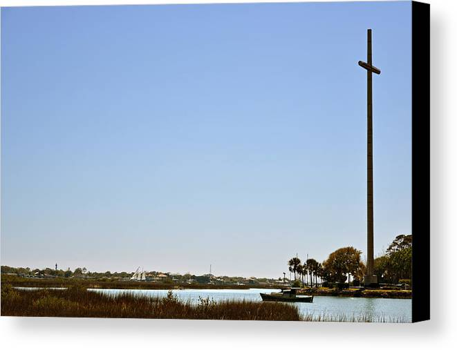 Great Canvas Print featuring the photograph Great Cross - Nombre De Dios - St Augustine by Christine Till