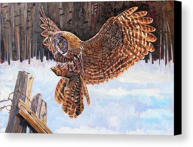 Owl Canvas Print featuring the painting Great Grey by Phil Chadwick