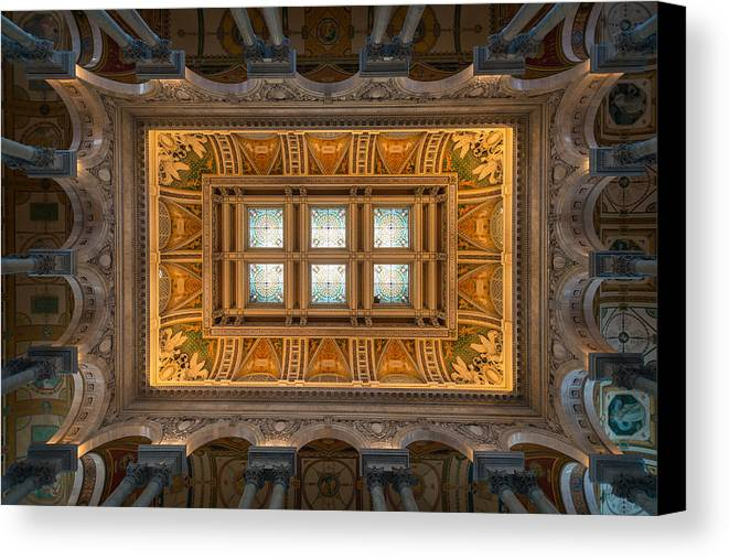 Loc Canvas Print featuring the photograph Great Hall Ceiling Library Of Congress by Steve Gadomski