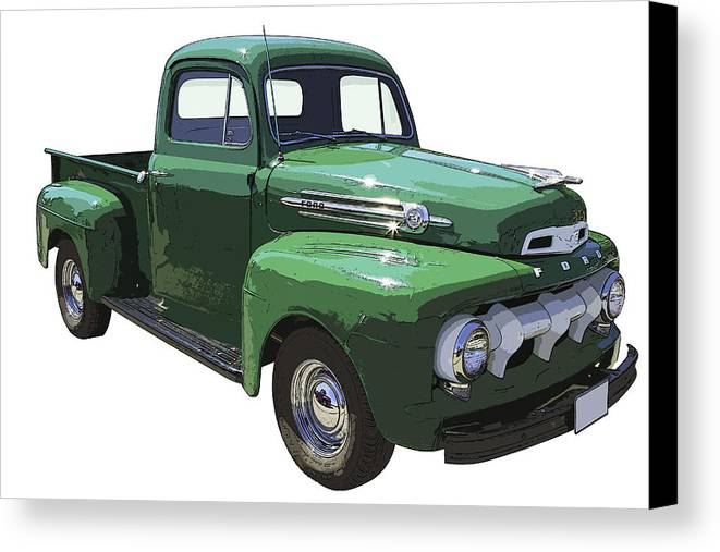 1951 Ford F-1 Pick Up Canvas Print featuring the photograph Green 1951 Ford F-1 Pick Up Truck Illustration by Keith Webber Jr