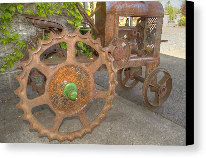 Tractor Canvas Print featuring the photograph Green Axle by Jean Noren