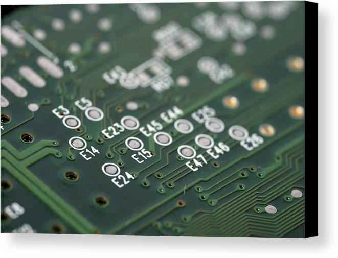 Board Canvas Print featuring the photograph Green Printed Circuit Board Closeup by Matthias Hauser
