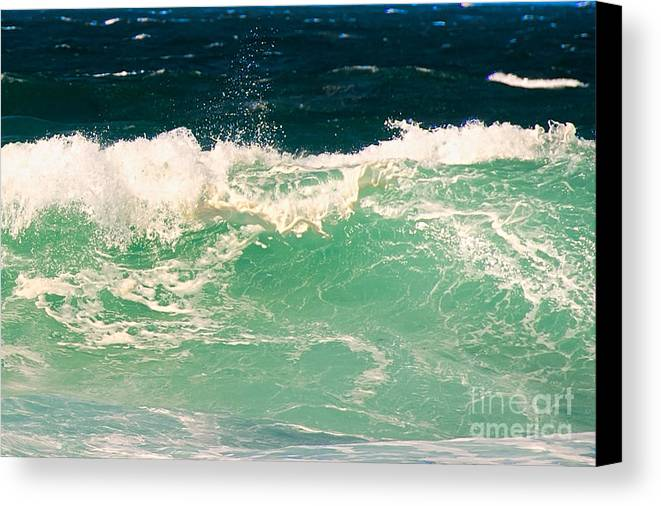 Pacific Grove Canvas Print featuring the photograph Green Wave Pacific Grove Ca by Artist and Photographer Laura Wrede