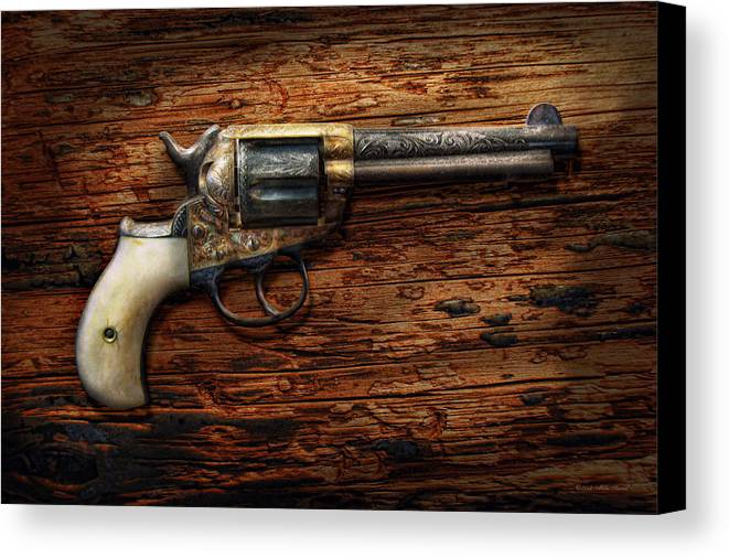 Police Canvas Print featuring the photograph Gun - Police - True Grit by Mike Savad