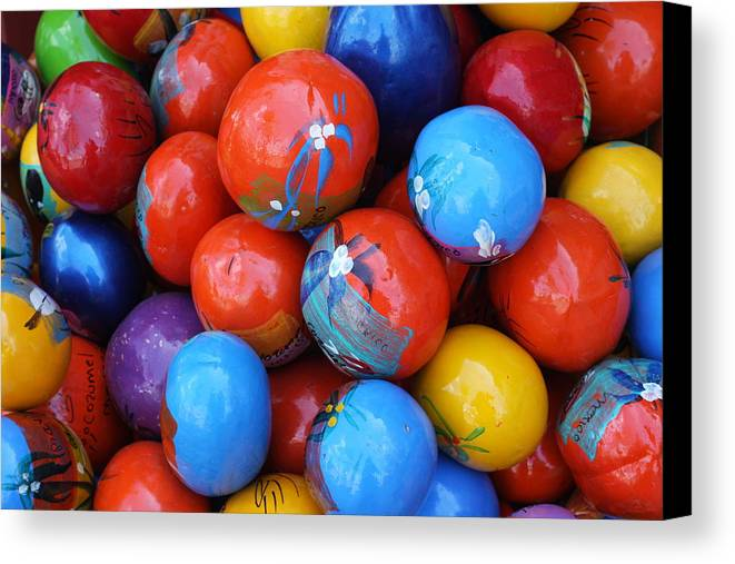 Mexico Canvas Print featuring the photograph Hand Painted Shakers Cozumel Mexico by Lee Vanderwalker