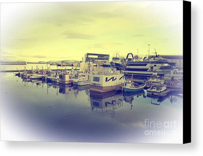 Reykjavik Canvas Print featuring the photograph Harbour At Reykjavik by Rob Hawkins
