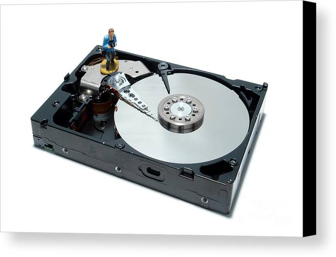 Computer Canvas Print featuring the photograph Hard Drive Backup by Olivier Le Queinec