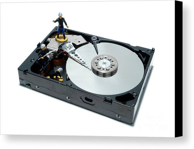 Computer Canvas Print featuring the photograph Hard Drive Firewall by Olivier Le Queinec