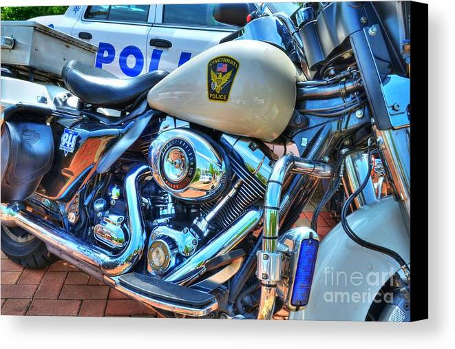Motorcycles Canvas Print featuring the photograph Harleys In Cincinnati 2 by Mel Steinhauer