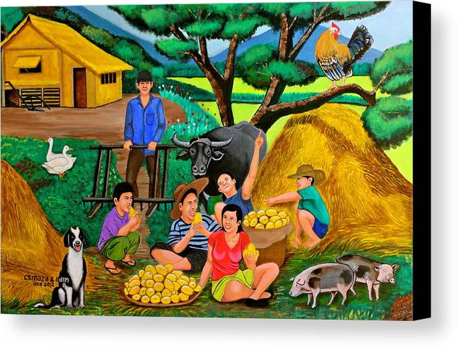 Landscape Canvas Print featuring the painting Harvest Time by Cyril Maza