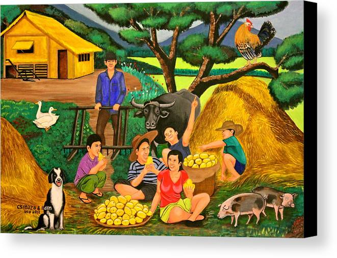 Landscape Canvas Print featuring the painting Harvest Time by Lorna Maza