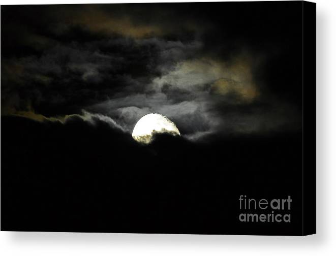 Moon Canvas Print featuring the photograph Haunting Horizon by Al Powell Photography USA