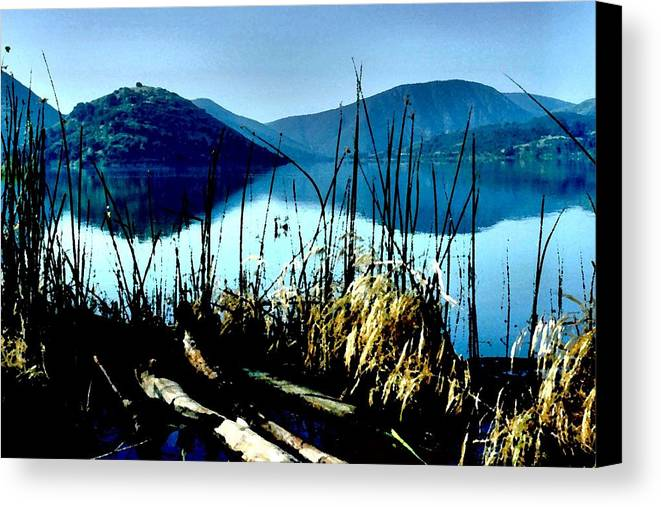 Lake Hodges Canvas Print featuring the photograph He Leads Me Beside Still Waters by Sharon Tate Soberon