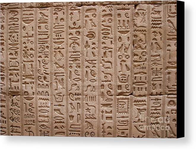 Philae Canvas Print featuring the photograph Hieroglyphs At The Temple Of Philae by Stephen & Donna O'Meara