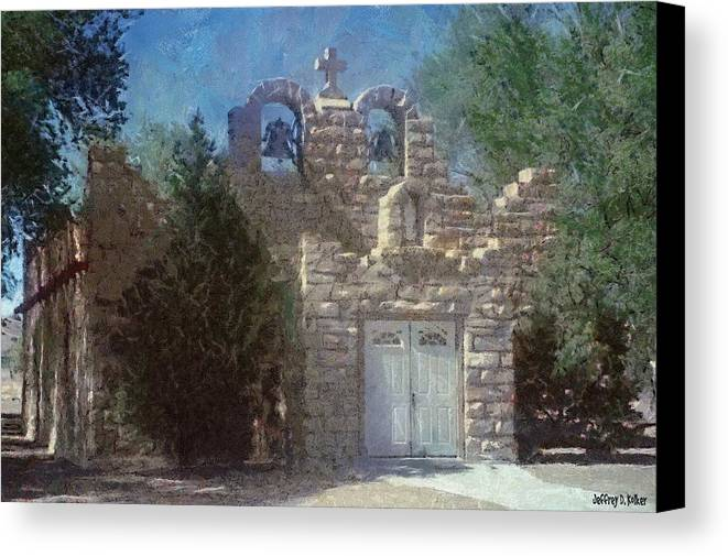 Architecture Canvas Print featuring the painting High Desert Church by Jeffrey Kolker