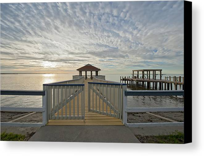 Pier Canvas Print featuring the photograph His Mercies Begin Fresh Each Morning by Bonnie Barry