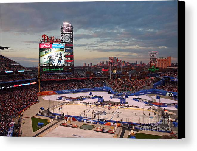 Hockey Canvas Print featuring the photograph Hockey At The Ballpark by David Rucker