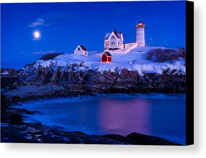 Cape Neddick Canvas Print featuring the photograph Holiday Moon by Michael Blanchette