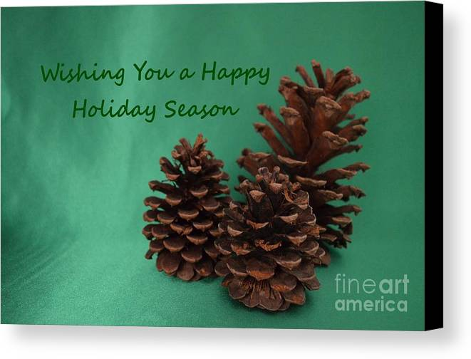 Pine Cones Canvas Print featuring the photograph Holiday Pine Cones by Mary Deal