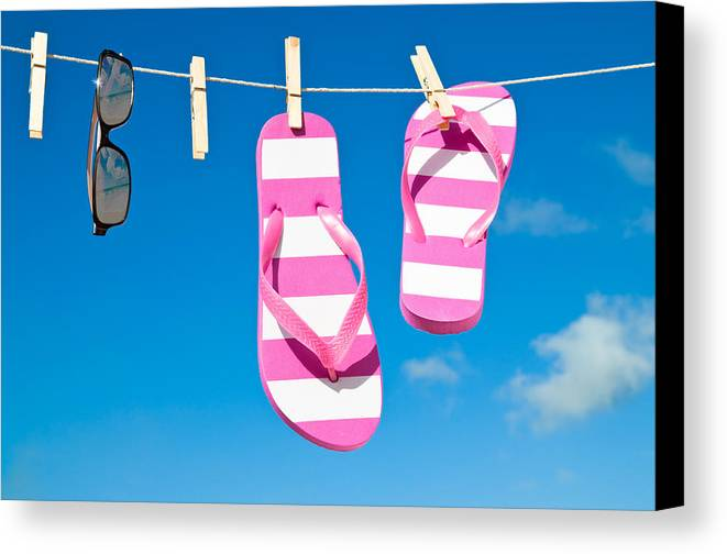 Washing Canvas Print featuring the photograph Holiday Washing Line by Amanda Elwell
