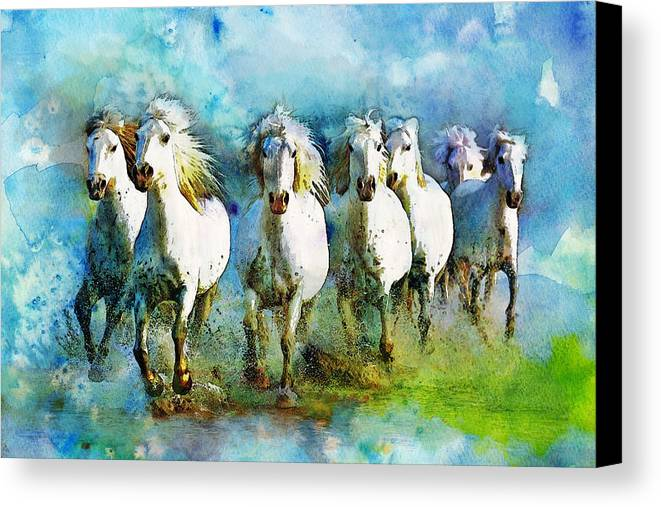 Horse Canvas Print featuring the painting Horse Paintings 005 by Catf