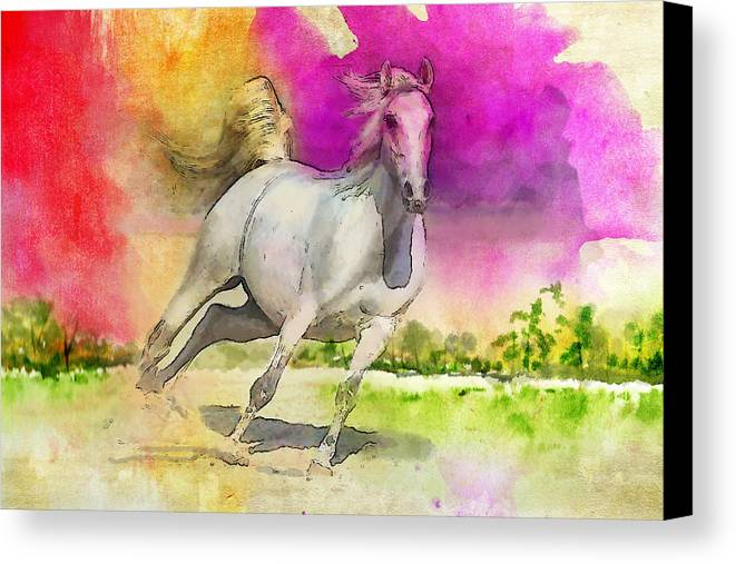 Horse Canvas Print featuring the painting Horse Paintings 007 by Catf
