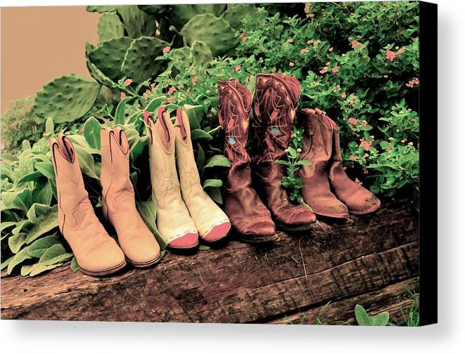 Pink Cowboy Boots Canvas Print featuring the photograph Horse Riding Boots by Kristina Deane