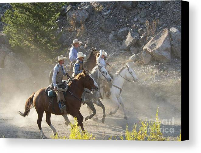 Ranch Canvas Print featuring the photograph Horsemen Marching In Dust by Sean Stauffer