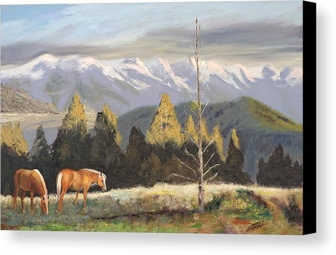 Landscape Canvas Print featuring the painting Horses Of The Tetons by Tommy Thompson