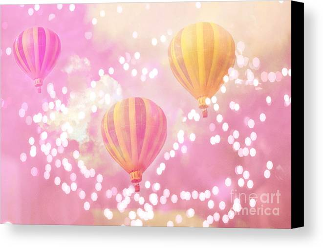 Hot Air Balloons Surreal Dreamy Baby Pink Yellow Hot Air Balloon Art Awesome Canvas Prints For Baby Room