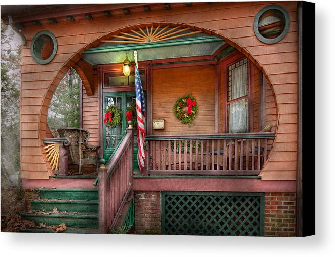 Victorian Canvas Print featuring the photograph House - Porch - Metuchen Nj - That Yule Tide Spirit by Mike Savad