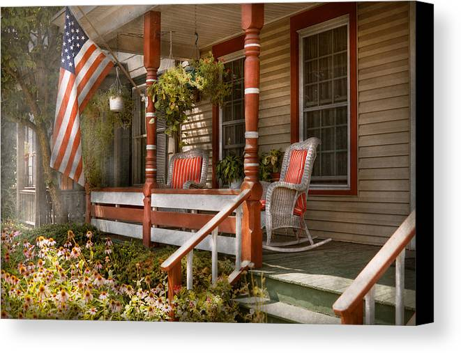 Porch Canvas Print featuring the photograph House - Porch - Traditional American by Mike Savad