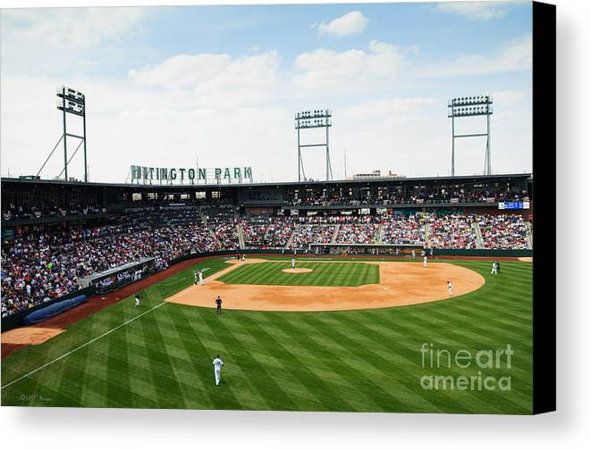 Columbus Clippers Canvas Print featuring the photograph D24w-243 Huntington Park Photo by Ohio Stock Photography