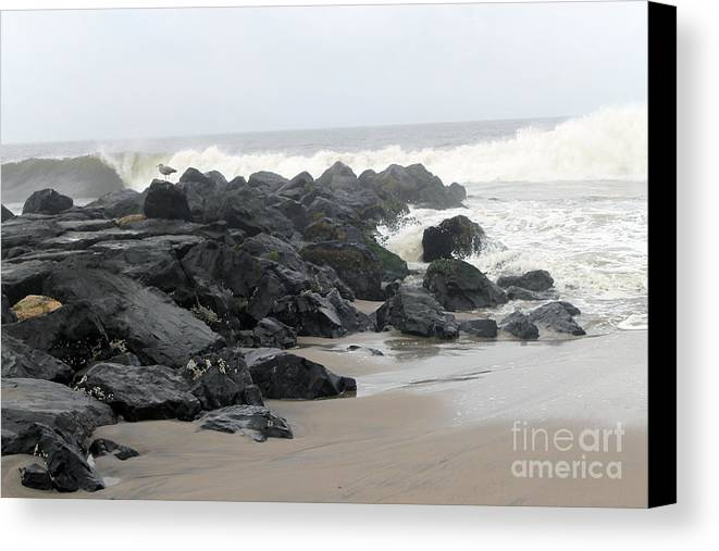 Jetty Canvas Print featuring the photograph Hurricane Irene 2011 by Ann Addeo