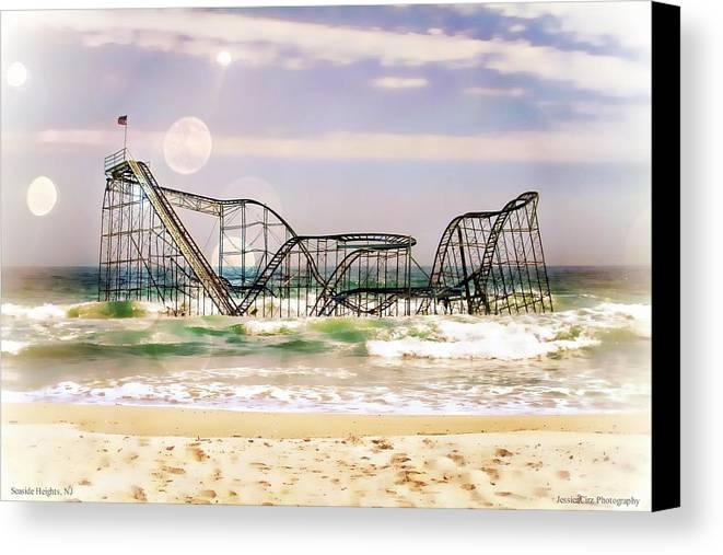 : Hurricane Sandy Photographs Canvas Print featuring the photograph Hurricane Sandy Jetstar Roller Coaster Sun Glare by Jessica Cirz