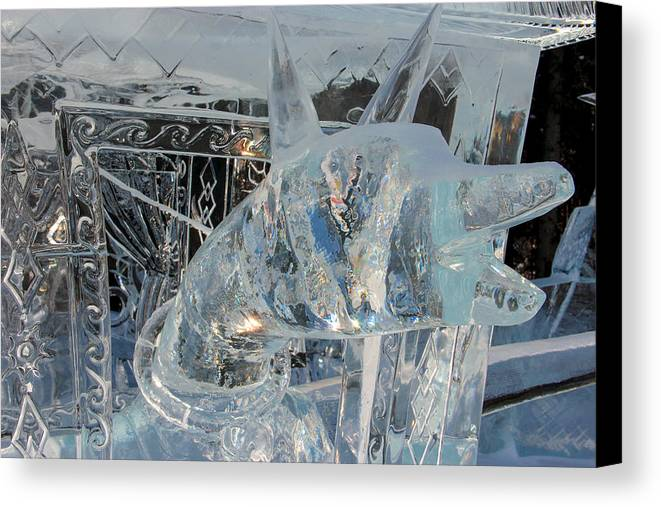 Ice Dog Canvas Print featuring the photograph Ice Dog by Laurel Butkins