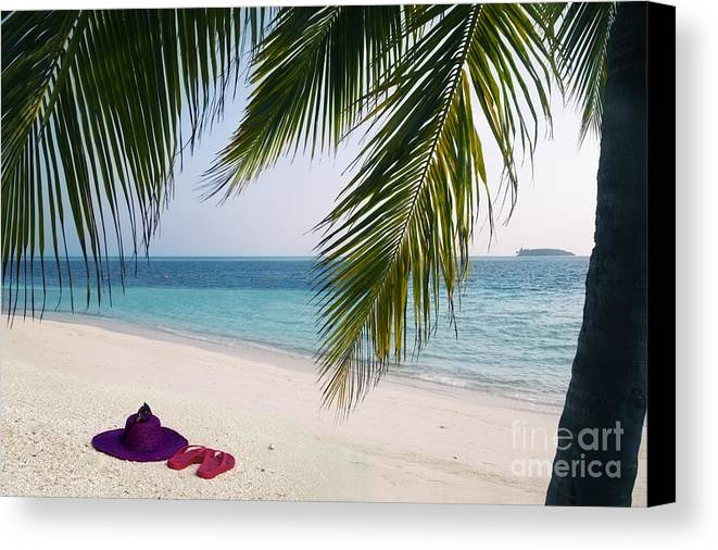 Palm Tree Canvas Print featuring the photograph Idyllic Beach Just Waiting For You by Rosemary Calvert