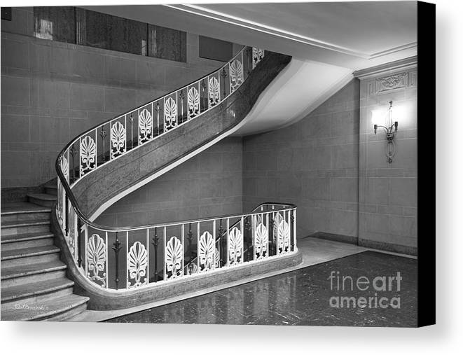 Bloomington Canvas Print featuring the photograph Illinois State University Williams Hall Stairway by University Icons