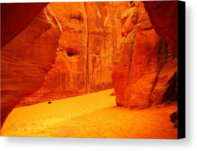Orange Canvas Print featuring the photograph In Orange Chasms by Jeff Swan