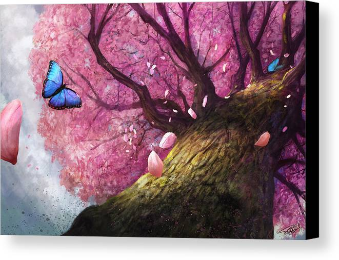 Cherry Blossom Canvas Print featuring the digital art In The Shadow Of Peace by Steve Goad