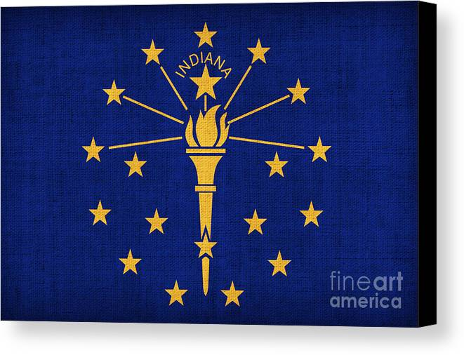 Indiana Canvas Print featuring the painting Indiana State Flag by Pixel Chimp