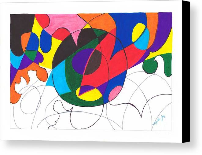 Abstract Canvas Print featuring the painting Inside And Outside The Circle by Myrtle Joy